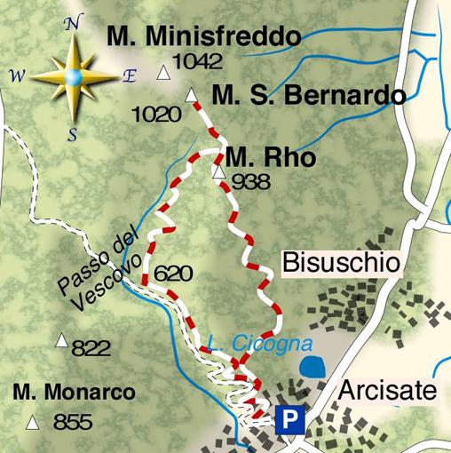 mappa di Il Monte San Bernardo (1020 m) sentinella della Valceresio
