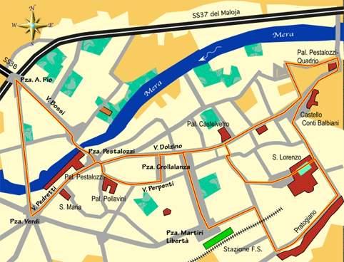 mappa di Quattro passi per Chiavenna