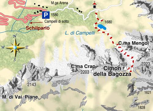 mappa di Cimon della Bagozza (2409 m), un angolo di Dolomiti in Lombardia