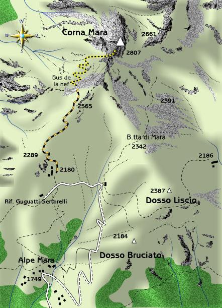 mappa di Ascensione alla Corna Mara, il Cervino di Sondrio