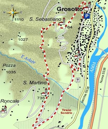 mappa di L'anello escursionistico di Grosotto