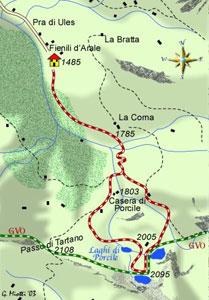 """mappa di Il """"rosario"""" glaciale dei laghi di Porcile"""