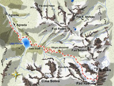 mappa di Il Rifugio Luigi Mambretti e la salita alla Punta di Scais
