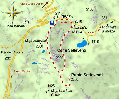 mappa di La solitaria Punta Setteventi 2250 m