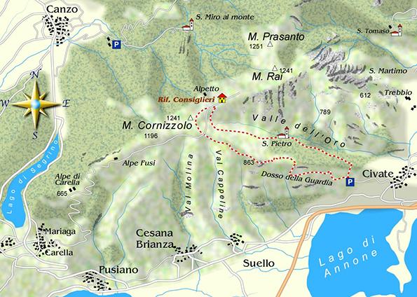 mappa di Al confine fra due mondi: l'abbazia di S. Pietro in Monte di Civate e il Monte Cornizzolo