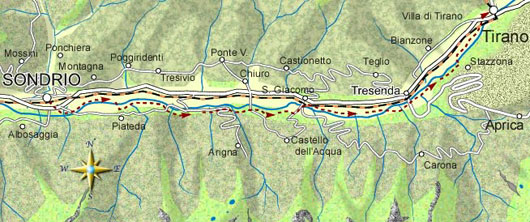 mappa itinerario ciclistico Sondrio - tirano