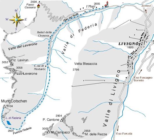 mappa di Munt Cotschen/Fuorcla Federia