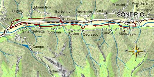 mappa itinerario ciclistico Sondrio - Ardenno