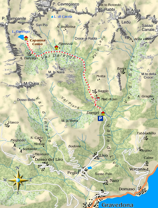 mappa di Val Darengo / Rifugio Como