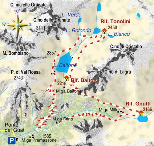 mappa di I rifugi della Val Malga