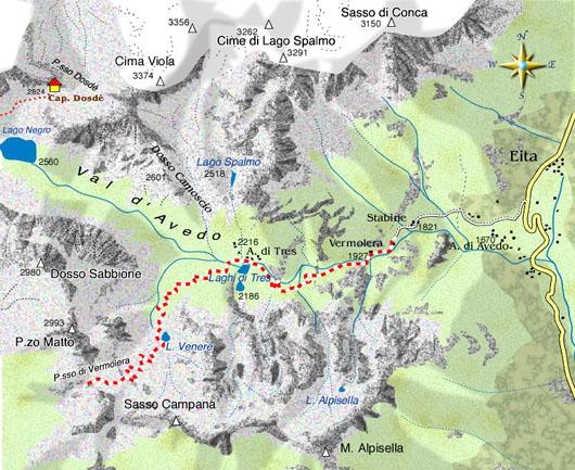 mappa di Le Valli Grosine e un panorama eccezionale