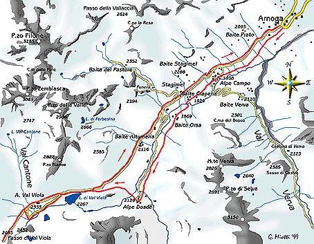 mappa di Passo di Val Viola 2455 m