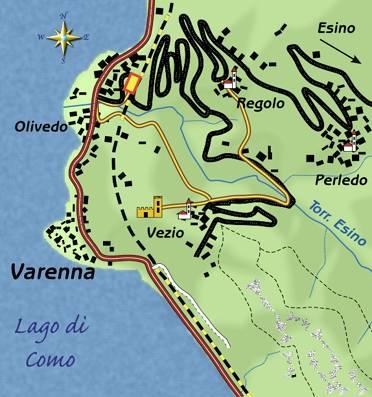 mappa di Varenna e il castello di Vezio