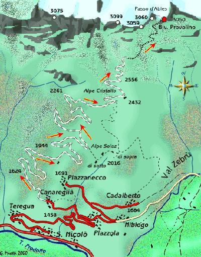 mappa di Il Passo dell'Ables e il bivacco Provolino