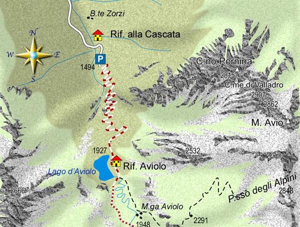 mappa di Il lago d'Aviolo, perla turchese dell'Adamello