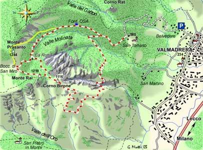 mappa di Monte Rai, Monte Birone e la Riserva naturale del Sasso di Malascarpa