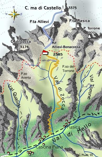 mappa di Cima di Castello - Via normale