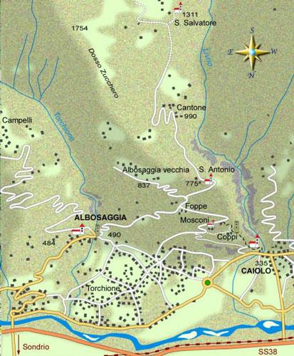 mappa di Chiese e castelli fra Caiolo ed Albosaggia (parte prima)