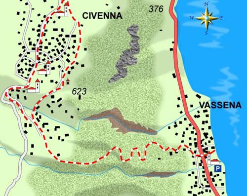 mappa di Da Vassena a Civenna sulla vecchia mulattiera dei viandanti
