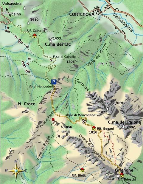 mappa di Le creste del Grignone