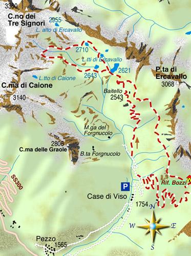 mappa di La conca del Montozzo ed i Laghi di Ercavallo