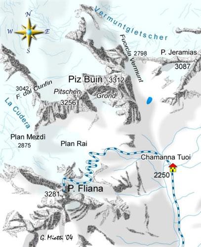 mappa di Capanna Tuoi 2250 m - Piz Fliana 3281 m