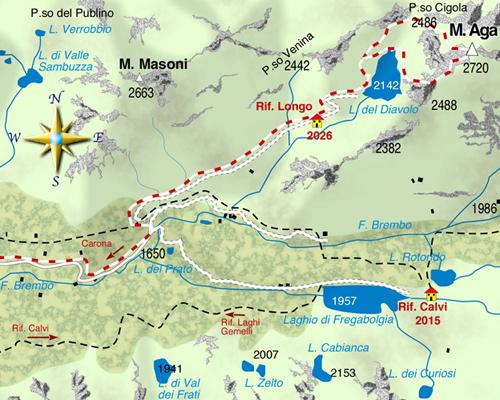 mappa di Il Monte Aga, sentinella fra Valtellina e Val Brembana