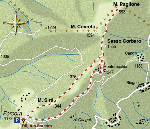 mappa di Monte Paglione (1553 m) sentinella della Val Veddasca