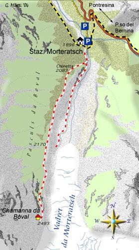 mappa di Il grande ghiacciaio di Morteratsch
