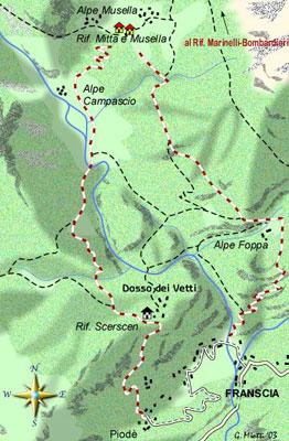 mappa di Un riposante anello fra il verde e le rupi della Valle di Scerscen