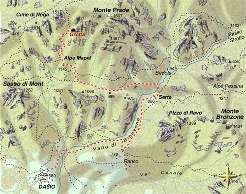 mappa di Val Solda. Nella tana dell'orso