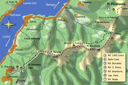 mappa di La lunga dorsale del Monte Palanzone 1436 m