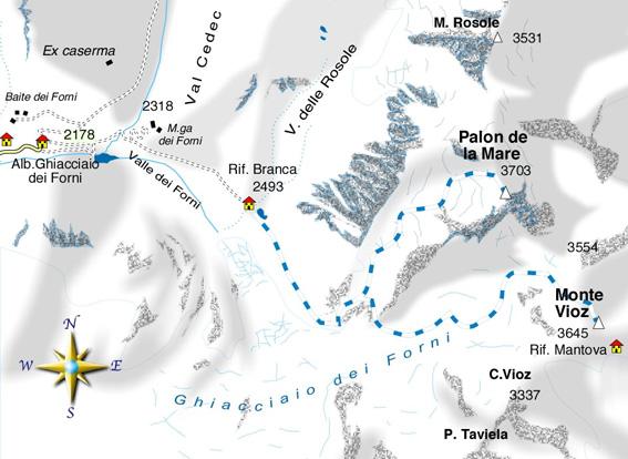 mappa di Palon de la Mare e Monte Viòz - al Ghiacciaio dei Forni