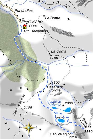 mappa di Monte Valegino Passo di Tartano o Passo di Porcile? A voi la scelta