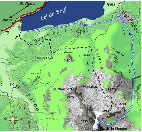 mappa di Piz da la Margna 3158 m - Una vetta per grandi panorami
