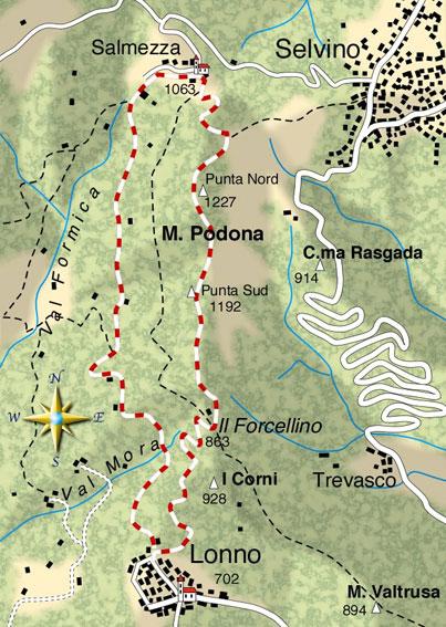 mappa di Il giro delle Podone