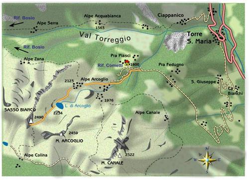 mappa di Pra' Piasci, Arcoglio e Sasso Bianco