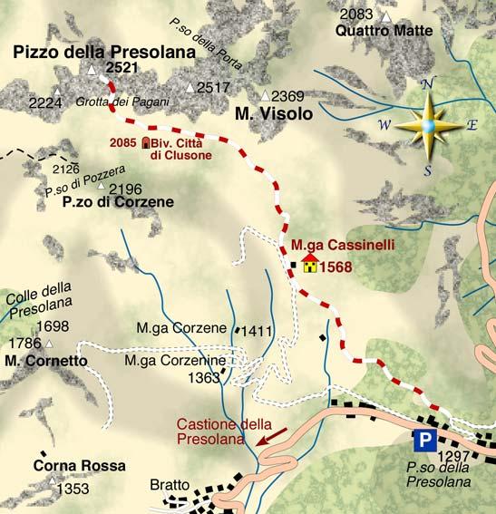 mappa di In cima alla Presolana