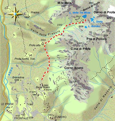 mappa di Gita ai laghi di Profa