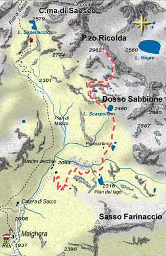 mappa di Il Pizzo Ricolda 2962 m