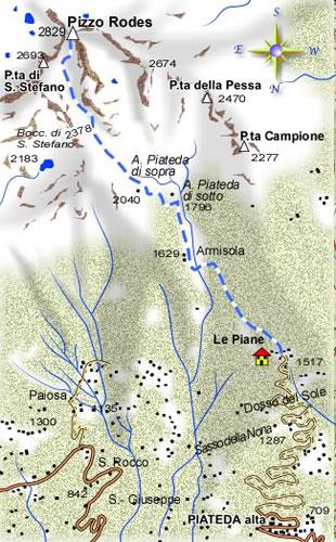 mappa di Pizzo di Rodes 2829 m, panorama a 360°