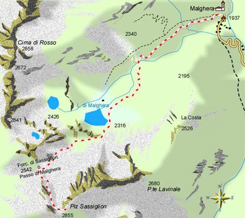 mappa di Malghera-Passo di Malghera (Forcola di Sassiglion)