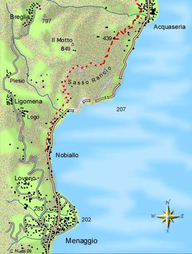 """mappa di Il Sasso Rancio e la """"torre pendente"""" di Nobiallo"""