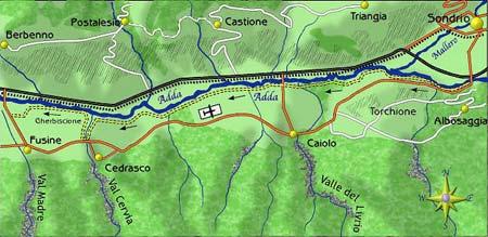 mappa di Il Sentiero Valtellina, un facile percorso per tutti lungo le sponde dell'Adda . Prima puntata