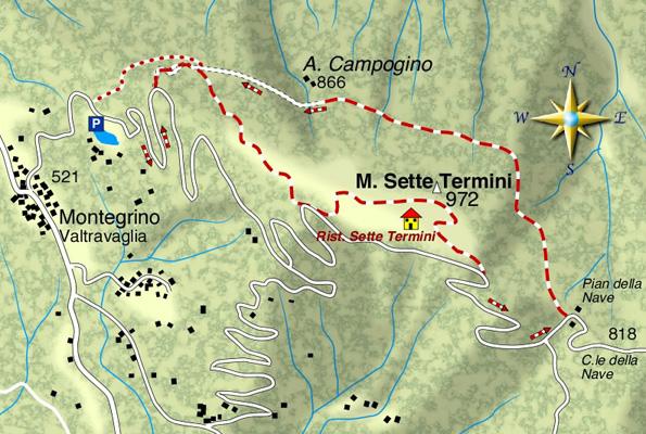 mappa di Monte Sette Termini 972 m.