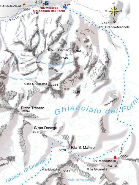 mappa di Punta S. Matteo, 3678 m