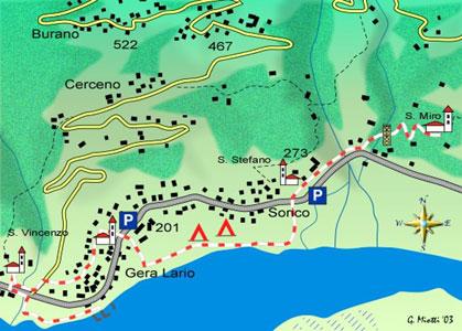 mappa di Il territorio di Gera Lario e Sorico: fra San Vincenzo e San Miro