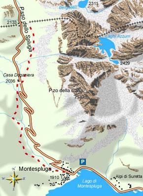 mappa di La Via Spluga da Montespluga al valico