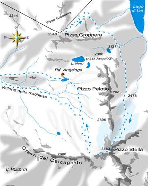 mappa di La salita al Pizzo Stella  per il ghiacciaio di Ponciagna