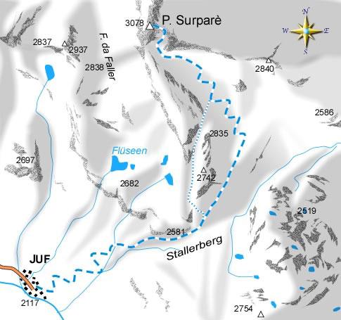 mappa di Piz Surparé nelle terre dei Walser